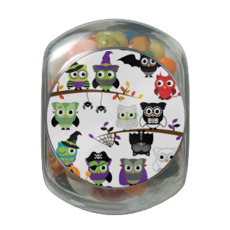 Collection Of Spooky Halloween Owls Jelly Belly Candy Jar