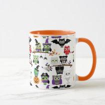 Collection Of Spooky Halloween Owls Mug