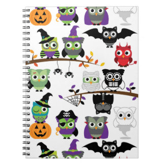Collection Of Spooky Halloween Owls Notebook