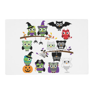 Collection Of Spooky Halloween Owls Laminated Placemat