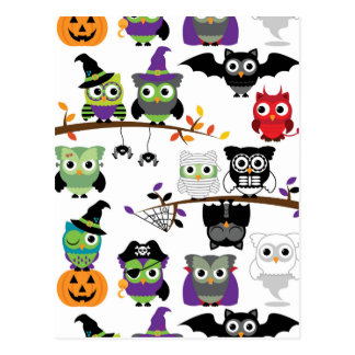 Collection Of Spooky Halloween Owls Postcards