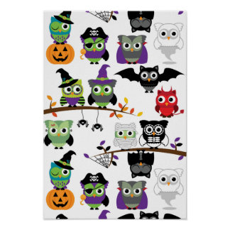 Collection Of Spooky Halloween Owls Poster