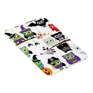 Collection Of Spooky Halloween Owls Rectangle Magnets