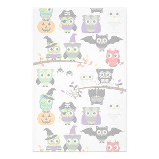 Collection Of Spooky Halloween Owls Stationery