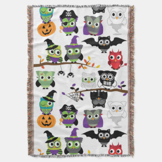 Collection Of Spooky Halloween Owls Throw Blanket