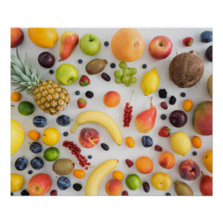 Collection of summer fruits poster