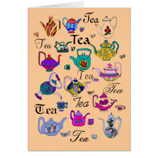 Collection of  Vintage Teapots (blank inside) Greeting Card