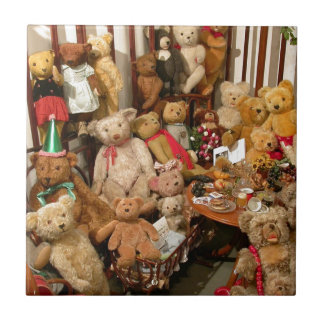 Collection Of Vintage Teddy Bears Ceramic Tile