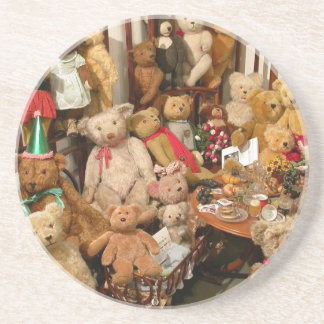 Collection Of Vintage Teddy Bears Drink Coaster