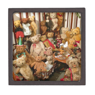 Collection Of Vintage Teddy Bears Jewelry Box