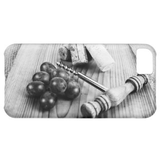 collection of wine corks on rustic wooden texture cover for iPhone 5C