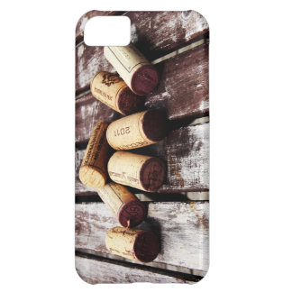 collection of wine corks on rustic wooden texture iPhone 5C case