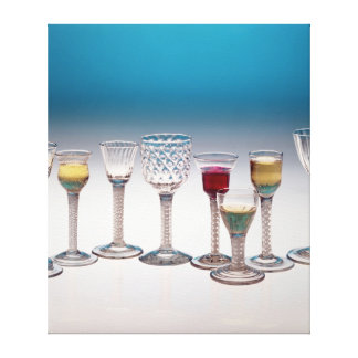 Collection of wine glasses, c.1755-60 canvas print