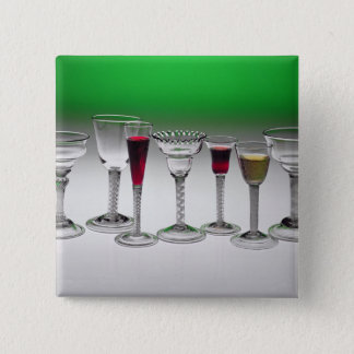Collection of wine glasses with twist stems pinback button