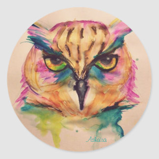 Collection watercolor owl exclusive and unique classic round sticker
