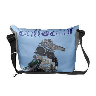 """""""Collector"""" Found-Object Magpie Sculpture Messenger Bags"""