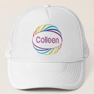 Colleen in rainbow happy frame trucker hat