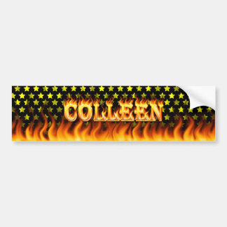 Colleen real fire and flames bumper sticker design car bumper sticker