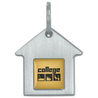 College 3 pet tag