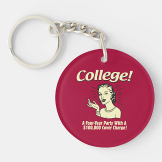 College: 4 Year Party 100,000 Cover Keychain