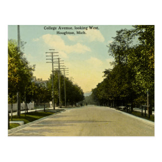 College Avenue Looking West Houghton, Michigan Postcard