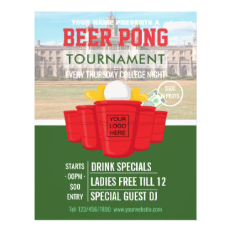 College Beer Pong Tournament add logo and photo Flyer