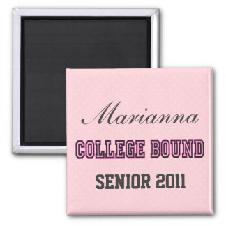 COLLEGE BOUND PINK 2 INCH SQUARE MAGNET