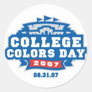 College Colors Day 2007 Logo Classic Round Sticker