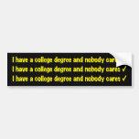 college degree bumper sticker