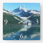 College Fjord I Scenic Alaska Cruising Square Wall Clock