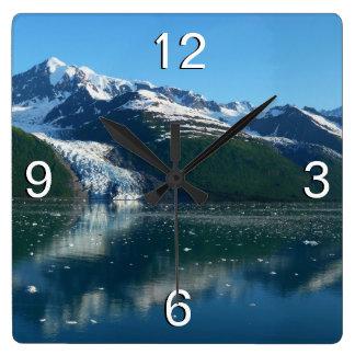 College Fjord II Beautiful Alaska Photography Square Wall Clock