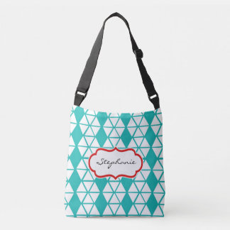 College Girl Cross Body Bag in Teal White Pattern