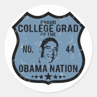 College Grad Obama Nation Classic Round Sticker