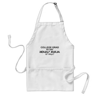 College Grade Deadly Ninja by Night Adult Apron