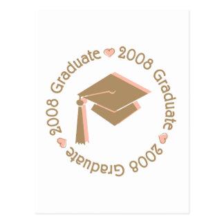 College Graduate 2008 Pink Brown Postcard