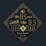 """College Graduation Bachelors Degree Funny BS Name Graduation Cap Topper<br><div class=""""desc"""">Celebrate your new Bachelor of Science university degree with these pretty - and funny - custom mortarboard toppers. This cute design has a black and faux gold and silver glitter look with room for the graduate&#39;s name, the year and degree type. The humorous text at the top says, &quot;All the...</div>"""