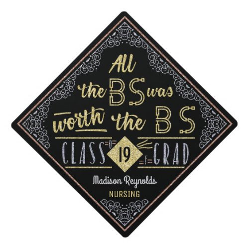 College Graduation Bachelors Degree Funny BS Name Graduation Cap Topper