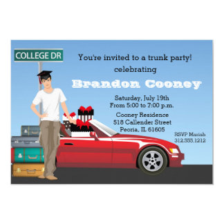 College Graduation Trunk Party Going Away Brunette Card