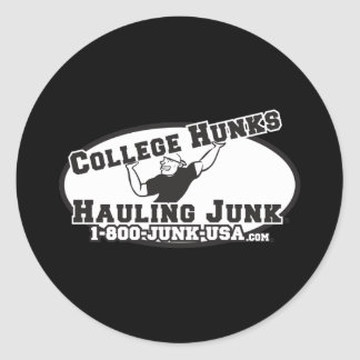 College Hunks Hauling Junk Black and White Classic Round Sticker