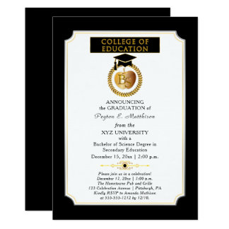 College of Education Degree Gold Apple Graduation Card