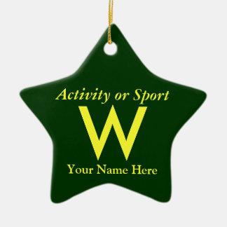 College or High School Varsity Letter Keepsake Ceramic Ornament
