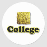 College Ramen Classic Round Sticker