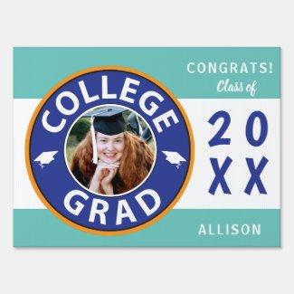 College School Photo Graduation Yard Sign