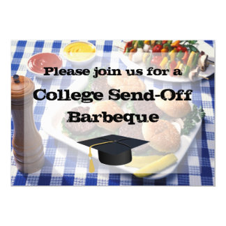 College Send-off BBQ Burgers on Table Personalized Card