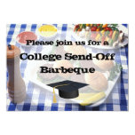College Send-off BBQ Burgers on Table Personalized Custom Invitation