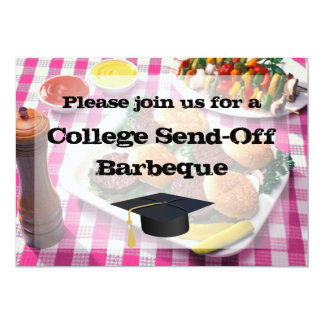 College Send-off Party BBQ Burgers Pink Tablecloth Personalized Invitations