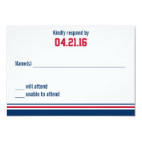 College Stripe Bar Mitzvah Response Card