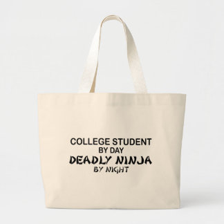 College Student Deadly Ninja by Night Large Tote Bag
