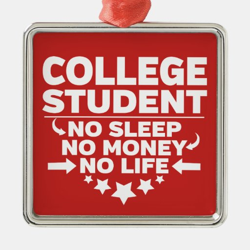 College Student No Sleep No Money No Life Metal Ornament