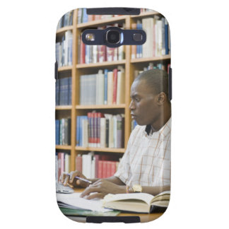 College student working in library samsung galaxy SIII cover